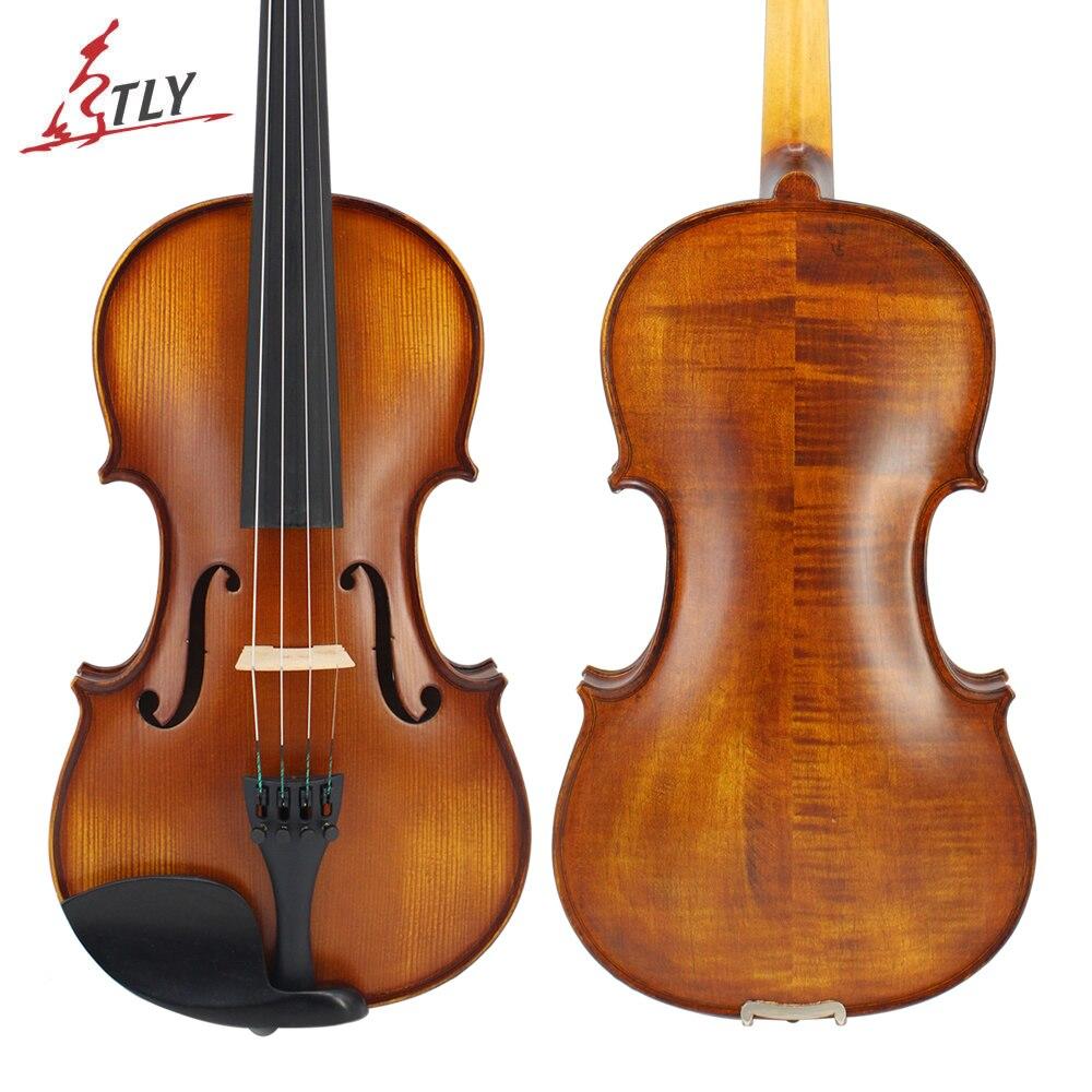 TLY природа клена акустическая матовая скрипки Полный размеры Advanced Античная 1/4, 1/2, 4/4, 3/4 Ebony запчасти w/чехол Лук канифоль