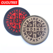 GUGUTREE embroidery HOOK&LOOP letter patches alphabet badges applique for clothing AD-89