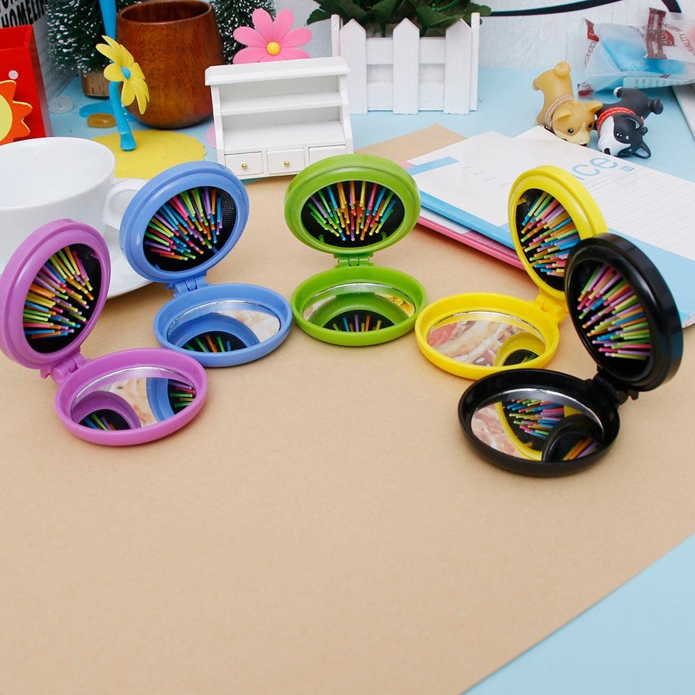 1Pc Girls Functional Mini Folding Massage Comb Airbag Round Travel Hair brush With Mirror Cute Anti-static Rainbow