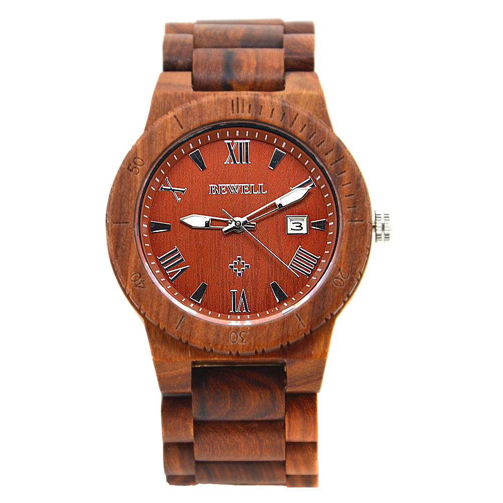 цена на BEWELL New Wooden Watches Luxury Gift Wristwatches with Calendar for Gifts Handmade Watch in Wood box relogio masculino 109B