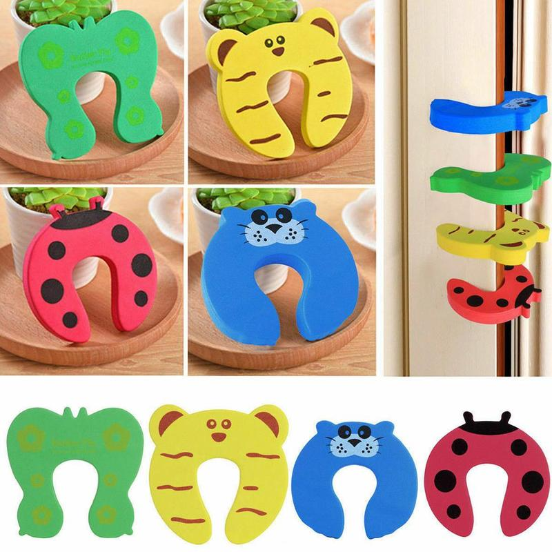 Multi-function Children Baby Safety Door Stopper Cartoon Door Clamp Pinch Hand Security Stopper Cute Animal Clip Security Random