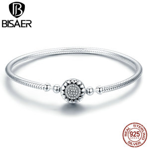 Image 3 - Classic 2019 New 925 Sterling Silver Bright Heart Round Snake Clasp Bracelets Basic Silver Charms Bracelet Women DIY Jewelry