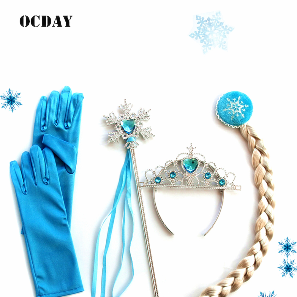 HOT 4 Pcs Cosplay Crown Tiara Hair Accessory Crown Wig +Magic Wand For Elsa Anna Great Costume for Party Performance elsa tiaras princess crown hair accessories crystal diamond candy color tiara magic wand party bridal wedding jewelry accessory