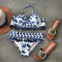 3b1decbb18 2019 Super push up bikini set with tassels Women bandage swimsuit hot sale  sexy halter pushup
