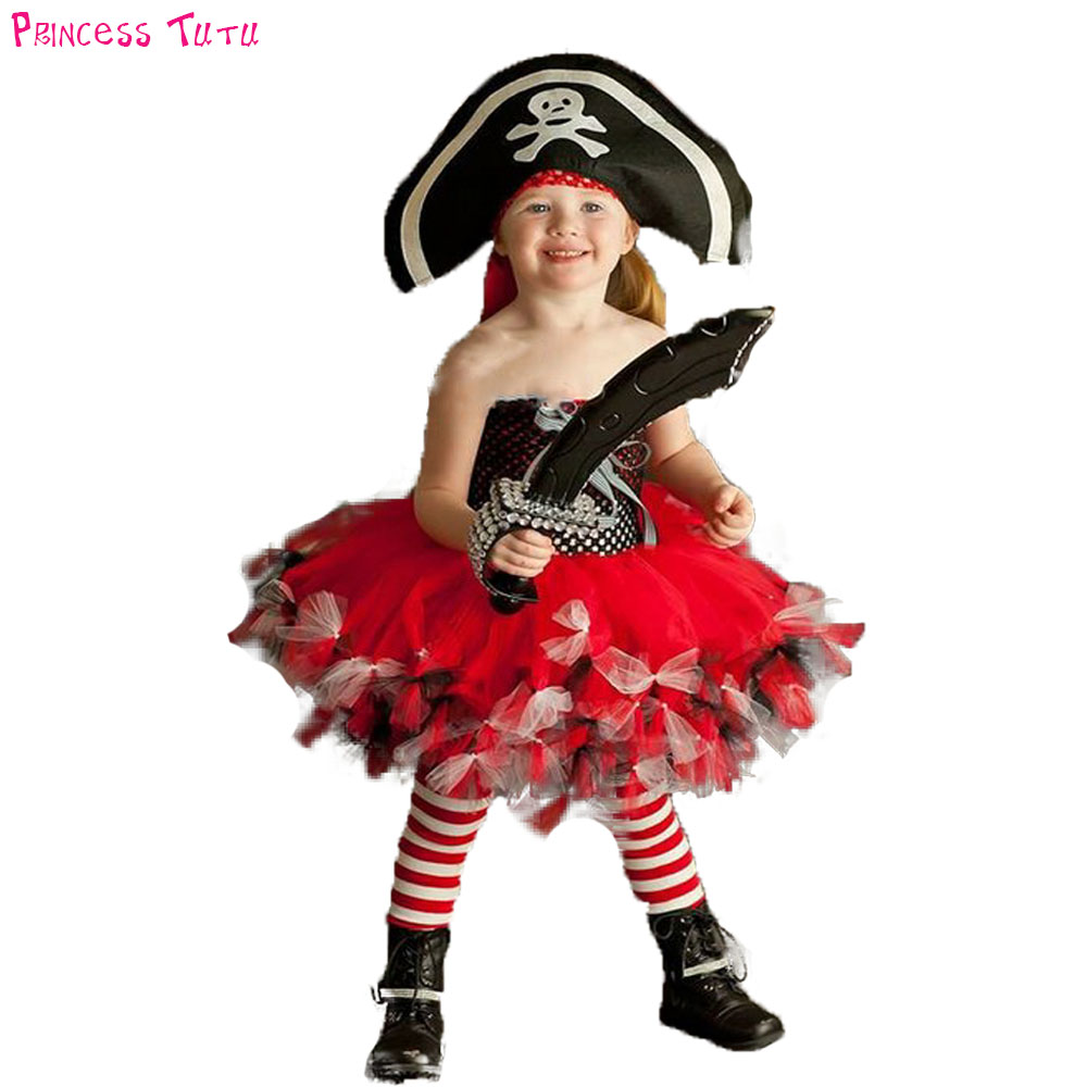 Pretty Little Pirate Tutu Dress with Hat Horrible Girl Halloween Knee Length Corsair Dress Up Costume For Kids Birthday Party
