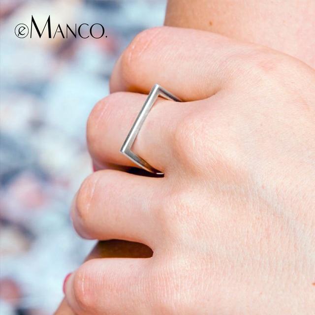 EManco 925 Esterlina Anéis de Prata Anéis de Casamento para As Mulheres de Cor Prata Minimalista Jóias Anillos Bague Femme Mujer Transporte da gota