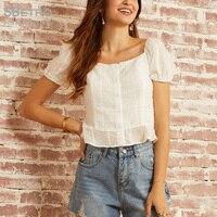 Sbetro Women's Puff Sleeve Schiffy Shirt 2019 Fashion Summer Boho Sweetheart White Ruffled hem crop top Fit Sexy and Cute Blouse
