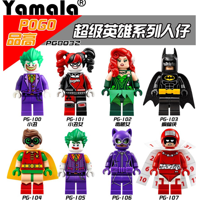 [Yamala] Single Super Heroes Harley Quinn Joker Legoing Batman Catwoman Robin Poison Ivy Calendar of People Blocks Toys
