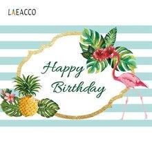 Laeacco Green White Stripe Flamingo Tropical Portrait Photography Backgrounds Customized Photographic Backdrops for Photo Studio