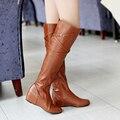 Tamanho 34-47 Nova primavera outono das mulheres planas botas botas mulheres à prova d' água sexy na altura do joelho botas de cano alto feminino amarelo 4 cores fivela alta botas