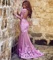 2017 Muçulmanos Vestidos de Noite Da Sereia Mangas Compridas Rosa Apliques Rendas Islâmico Dubai Abaya Kaftan Longa Noite Vestido de Baile Vestido