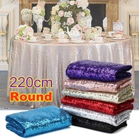 220cm / 87 Round Sparkle Sequin Tablecloth Cover Wedding Banquet Party Decoration Glitter Table Runner Home Textiles 7 Colors