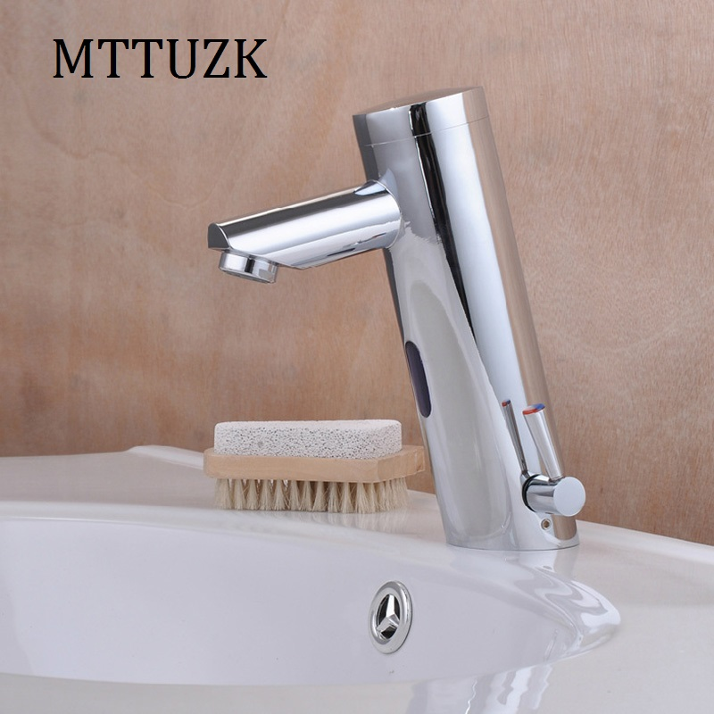 MTTUZK New Arrival Hot and Cold Integrated Sensor Faucet Hands Touch Free Basin Sink Mixer Faucet Deck Mounted torneira banheiro new deck mounted cold automatic sensor hands faucet chromed free bathroom sink tap cold only sensor faucet chrome for bathroom