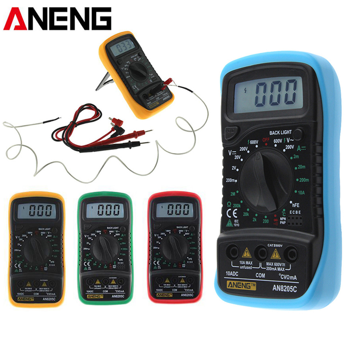 ANENG AN8205C Thermometry Digital Multimeter Voltmeter Ammeter AC DC OHM Volt Tester Test Temperature Gauge Tool