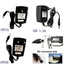 18V ca 100 V 240 V convertisseur adaptateur vers cc 18V 1A 1.5A 2A commutation alimentation chargeur ue US Plug 5.5mm x 2.1/2.5mm