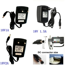 Adaptador convertidor de 18V CA 100V 240V a CC 18V 1A 1.5A 2A, cargador de fuente de alimentación conmutada EU US Plug 5,5mm x 2,1/2,5mm