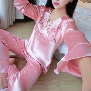 Image 3 - Женская шелковая пижама с длинным рукавом, шелковая пижама для отдыха, большие размеры, все сезоны