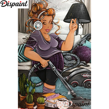 Dispaint Full Square/Round Drill 5D DIY Diamond Painting Cartoon woman 3D Embroidery Cross Stitch Home Decor A18405