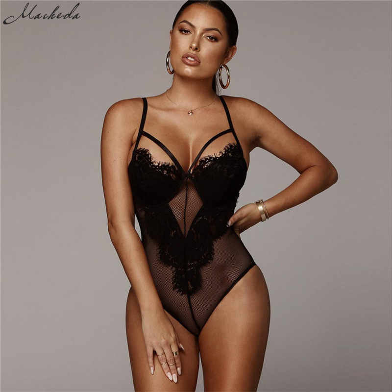 fc620fa02d Macheda Sexy Deep V Lace Bodysuit Women Catsuit Sleeveless Solid Summer  Jumpsuit Backless Leotard Bodies One