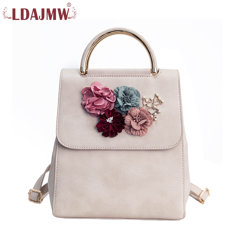 LDAJMW Brand Leather Flowers Female Backpack For Teenager Girls School Bag High Quality Shoulder Bags For Women Mochila Feminina fashion women leather backpack rucksack travel school bag shoulder bags satchel girls mochila feminina school bags for teenagers