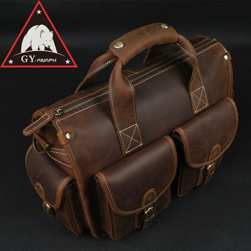 ANAPH Satchel Briefcase/ Crazy Horse Leather Messenger Bag For Men/ Casual Slim Crossbody Bag Attache 13 Inch Laptop Case Coffee casual canvas satchel men sling bag