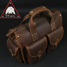 ANAPH Satchel Briefcase  Crazy Horse Leather Messenger Bag For Men