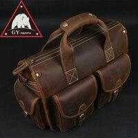 ANAPH Unisex Leather Satchel Briefcase, Crazy Horse Messenger Bag, Casual Crossbody Bag Attache 13 Inch Laptop Case Coffee