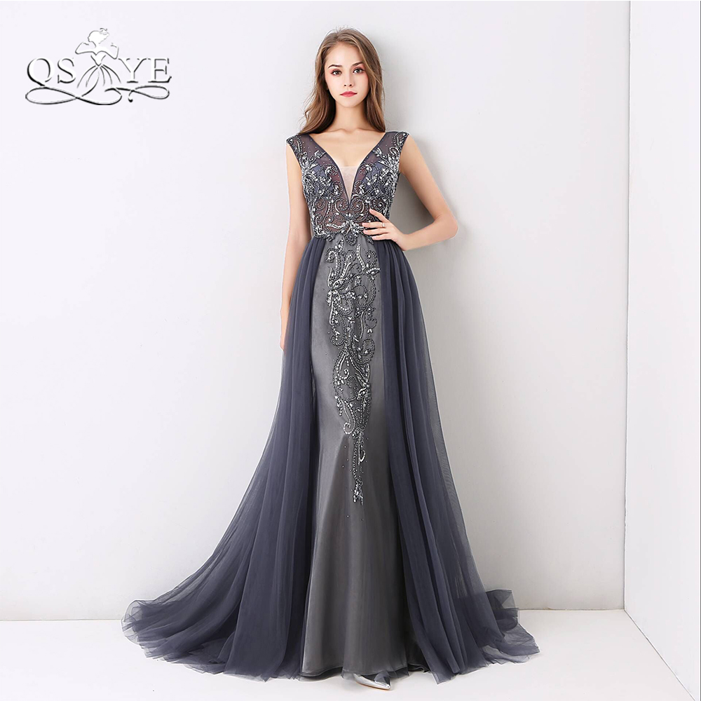 QSYYE Sparking Beading Long Prom Dresses 2018 New Arrival Sexy V Neck Open Back Tulle Formal ...