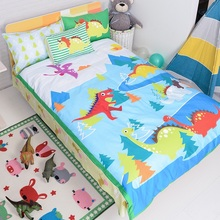 free shipping 4pcs 100cotton bule forest dinosaur rex pterosaur bedding set singletwin full size