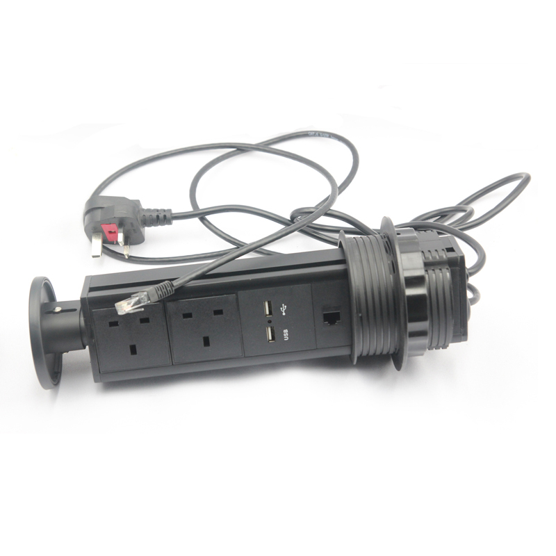 All Black Multipurpose 2 Plug outlets + 2 USB Charger +1 CAT6 Tensile Pop Up Power Tabletop Socket EU/AU/US/UK Customized
