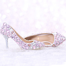 2016 Luxury  Pink Rhinestone Bridal Shoes Pointed Toe Thin Heel  Wedding Shoes Gorgeous Summer Crystal Sandals with Ankle Straps
