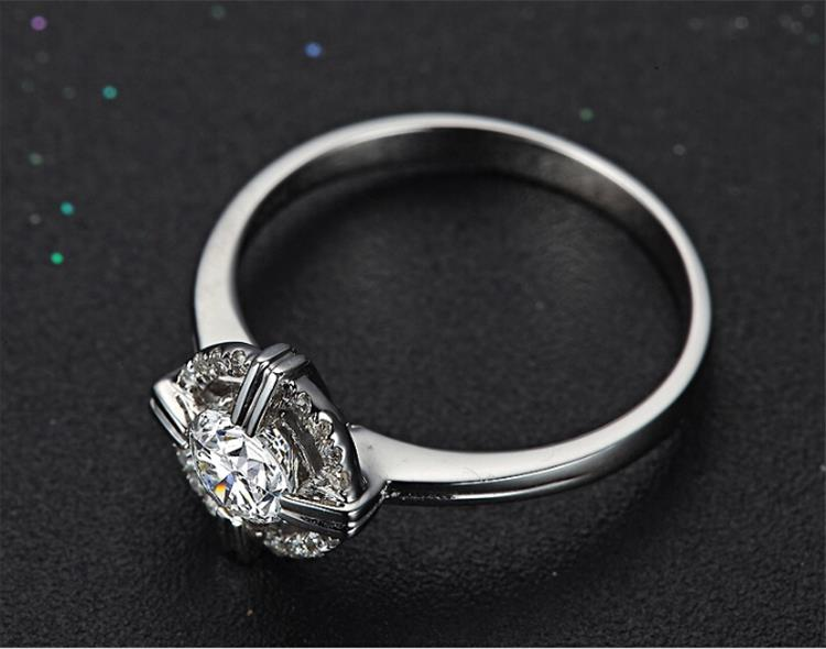 Cross round aaaa zircon setting women wedding finger ring unique new year gift lady jewelry engagement ring in stock factory