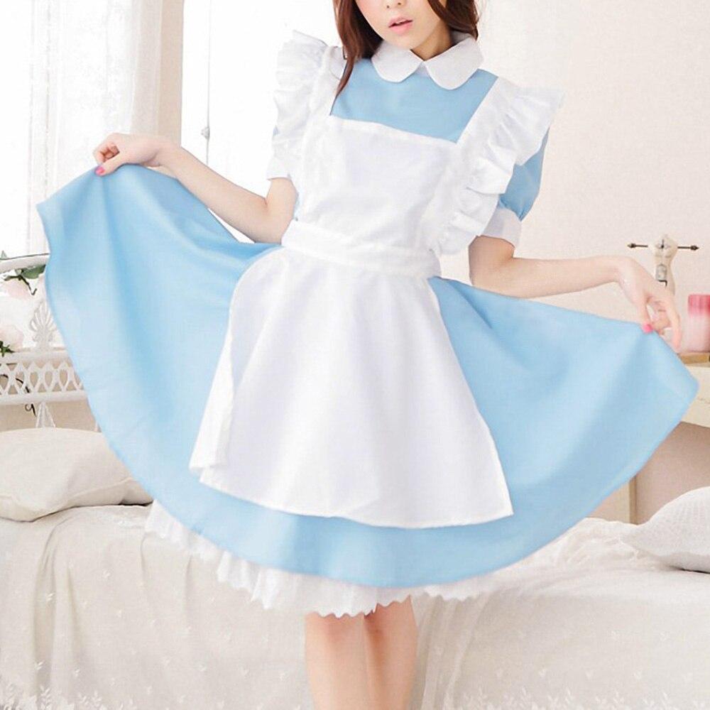 Alice im Wunderland Kostüm Nette Mädchen Lolita Blau Anime Maid ...