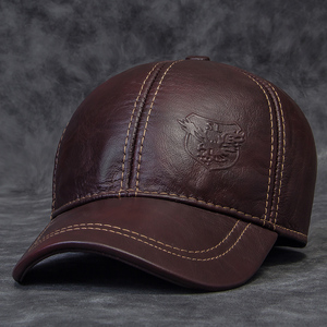 Image 2 - 2020 Winter Male Genuine Leather Eagle Print 56 60CM Black/Brown Baseball Caps For Man Casual Street Gf Gorras Dad Hat RY119