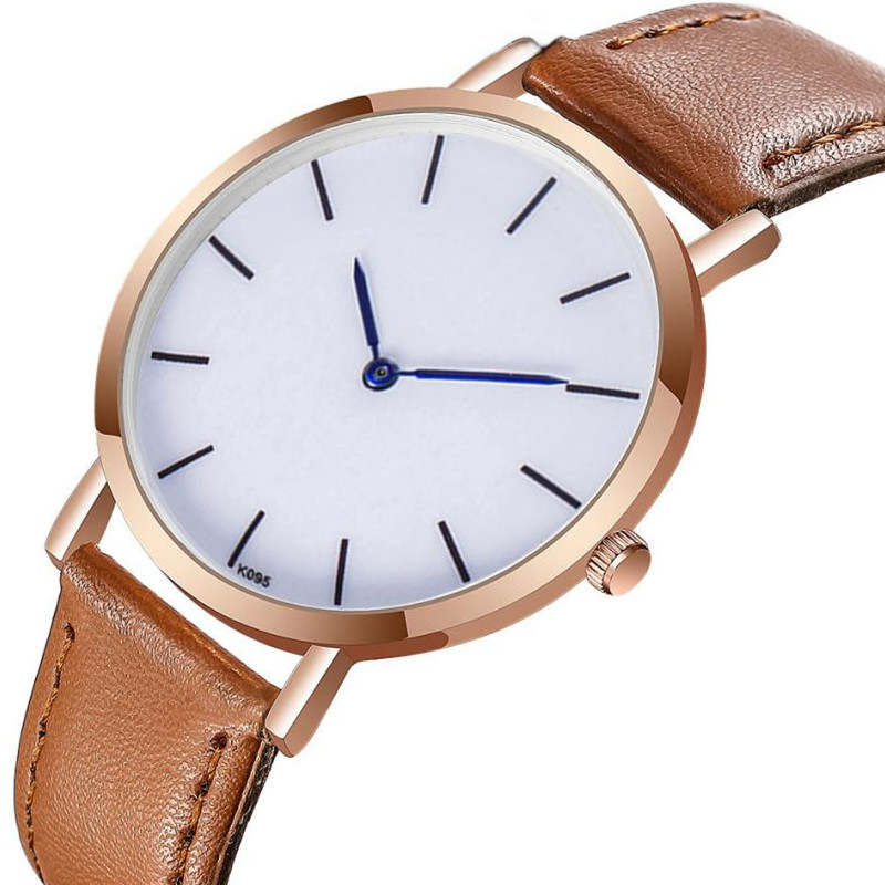 CTPOR Men Watch Fashion Male Leather Strap Wrist Watch Waterproof Minimalist Style Ultra thin Brown Black Band Quartz Clock Man creative rotation dial black rubber band strap men quartz wrist watch fashion business style turntabble pattern women male watch
