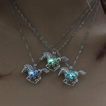 Hot Sale Skeletal Horse Luminous Locket Pendant Necklace Glowing in the Dark Vintage Jewelry Necklace For Women Silver Choker(China)