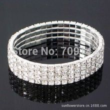 Nobility Jewellery Silver 4 Row Princess Cut Solitaire Designer Bracelet RHINESTONES WEDDING DIAMONTE Bangle wholesale 10pcs