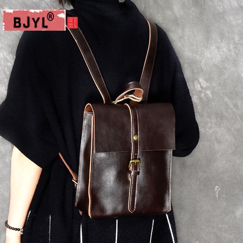BJYL Women Backpack literary style Genuine leather female models mini shoulder bag casual retro handmade school leather backpack все цены
