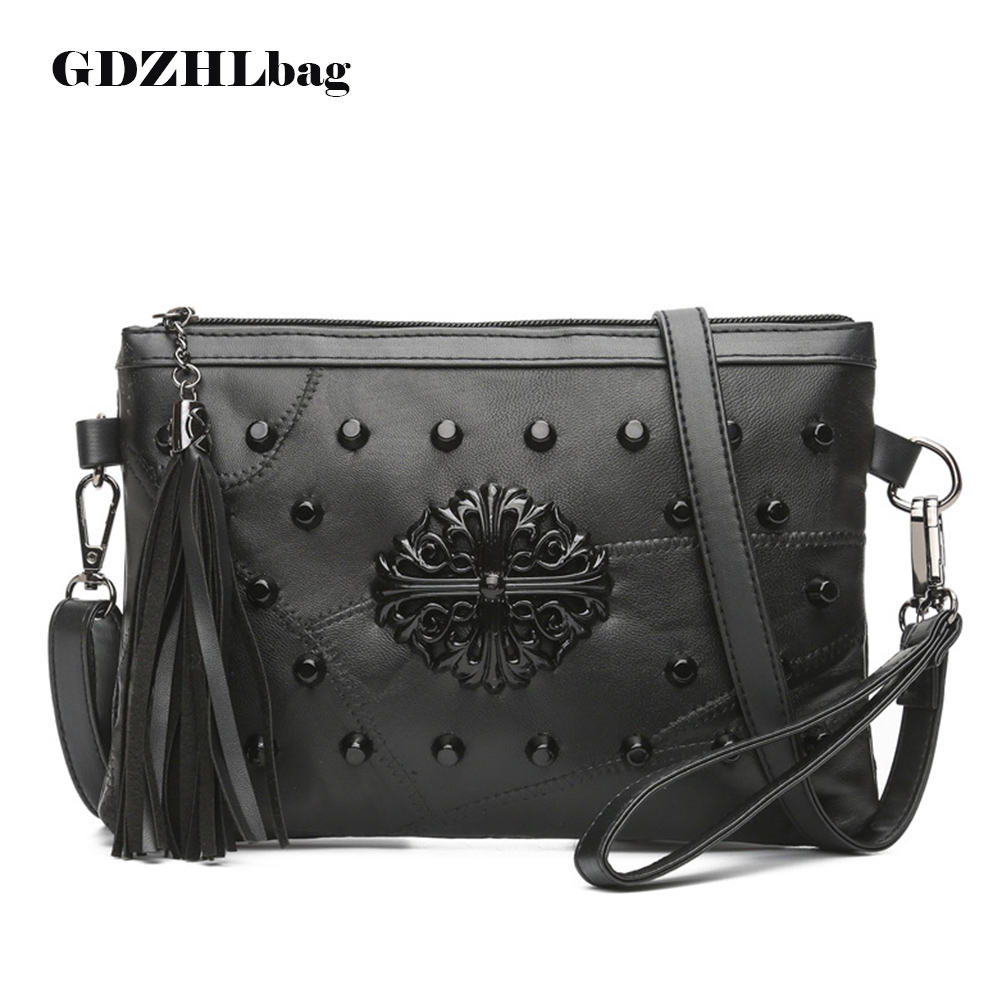Women Genuine Leather Handbags Rivet Stud Crossbody Bags Female Women Messenger Bags Purses Shoulder Bag Clutch 2018 new B084 women clutch bag genuine leather evening bags candy color summer crossbody messenger bag female shoulder bags envelope handbags