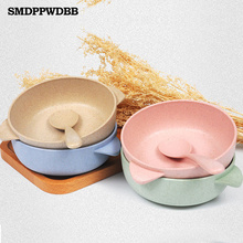 SMDPPWDBB 2 unids Nacido Bebé Kids Child Feeding Formación Binaural Tazón Cuchara de Alimentación Del Bebé Bowl Vajilla Infantil Tazón Placa(China (Mainland))