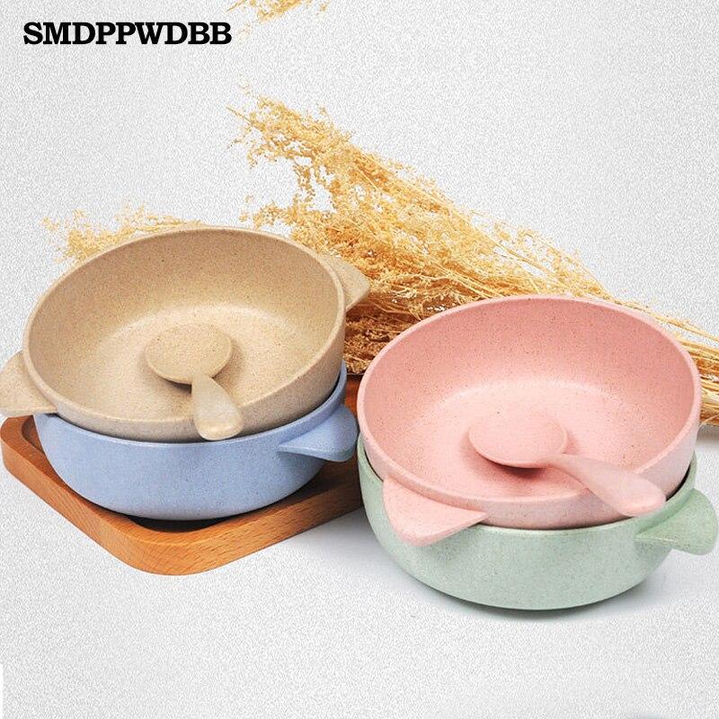Smdppwdbb 2 шт. одежда для малышей Дети Ребенок Кормление обучение чаша ложка бинауральные маленьких Кормление чаша Посуда детская тарелка чаша