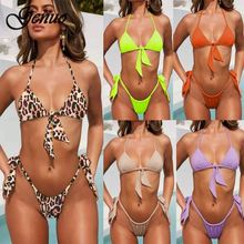 Sexy Beach Set 2019 Summer Women Push Up Thong Bathing Solid Lace Bow Halter Padded Bra Two piece Swim Suit