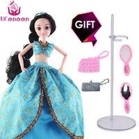 UCanaan 30 CM Aladdin Bebek Peri Masalları Prenses Bebekler Moda Oyuncaklar Kızlar Uzun Kalın Saç için 12 Ortak Vücut çocuk DIY bebekler