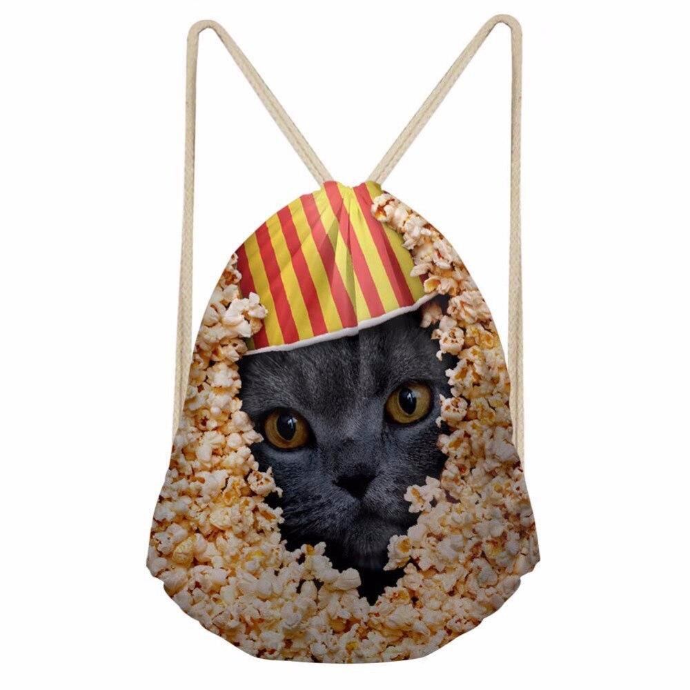 Noisydesigns Little Black Cat Cute Printing Drawstring Bag Women Backpack Children For Teenager Girls Cinch Mochila Escolar