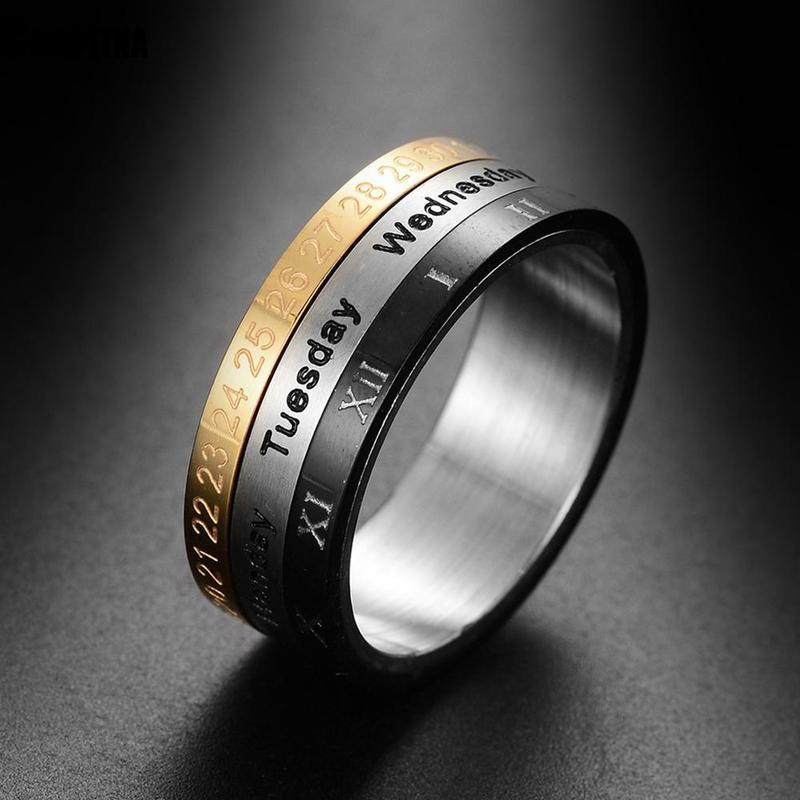 Men Time Rotating Rings Titanium Steel Arabic Numerals Calendar Rings 3 Colors Clock Band Ring For Men Jewelry Gift image