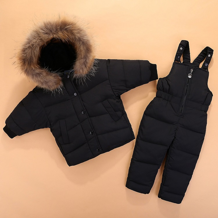 Children's set bat sleeve down jacket for boys and girls Korean edition two pieces of winter ski jacket