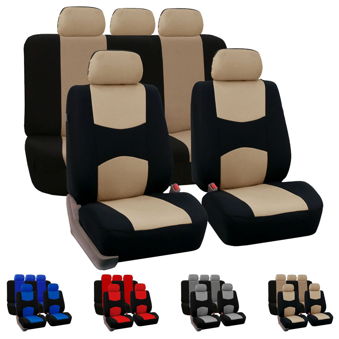 Dewtreetali Universal Front Back Car Seat Cover Full Set Polyester Car Seat Protector Four Seasons Interior Accessories dewtreetali car front seat cover sandwich four seasons universal seat protector cushion cover fit most auto car suv car styling