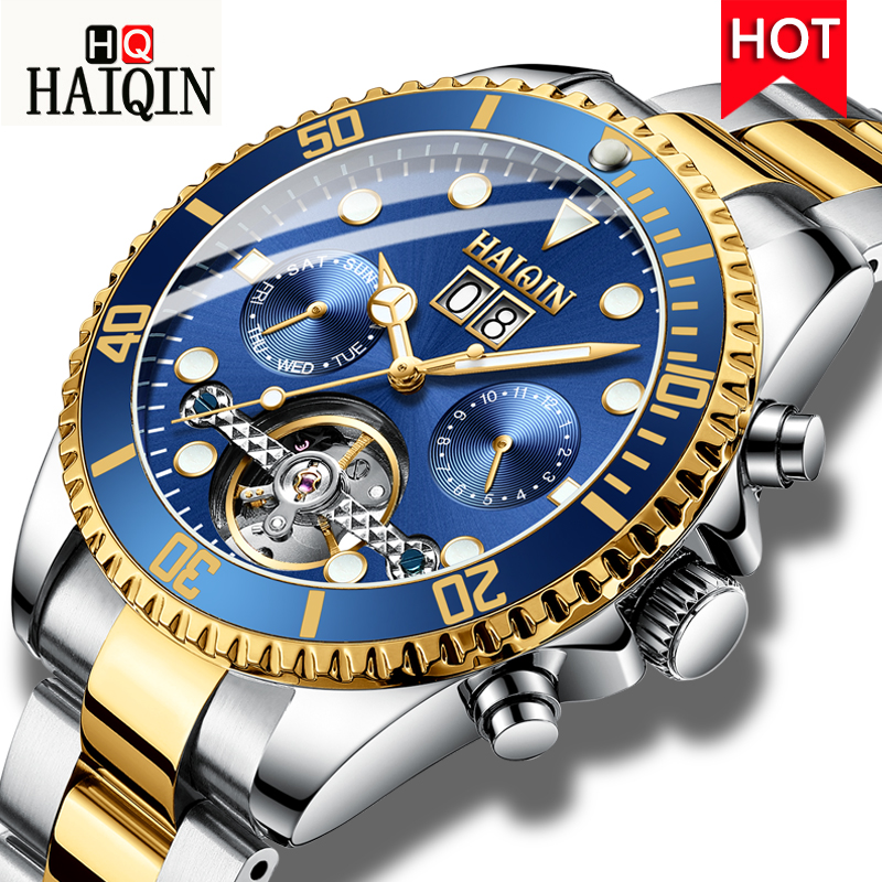HAIQNI Men s Watches Watch Men Machinery Men Luxury Gold Watch Stainless Steel Waterproof Fashion Casual