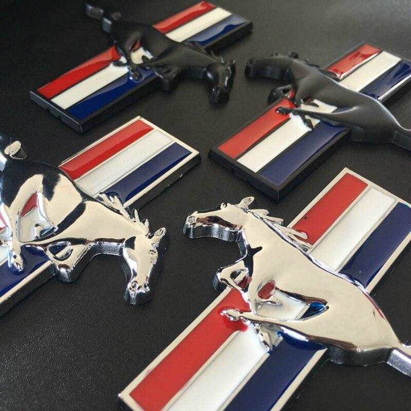 1pair 3D Gold Chrome Metal Mustang Running Horse Fender Side Badge Decal Rear Trunk Emblem Decoration Sticker Car-styling