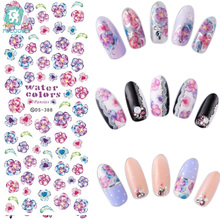 лучшая цена DS385-408 New 2017 Spring Magic Flowers Water Transfer Nails Art Sticker Harajuku Nail Wrap Sticker Tips Manicura stickers